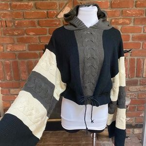 VINTAGE Wide Bell Sleeve HOODIE Sweater Top L